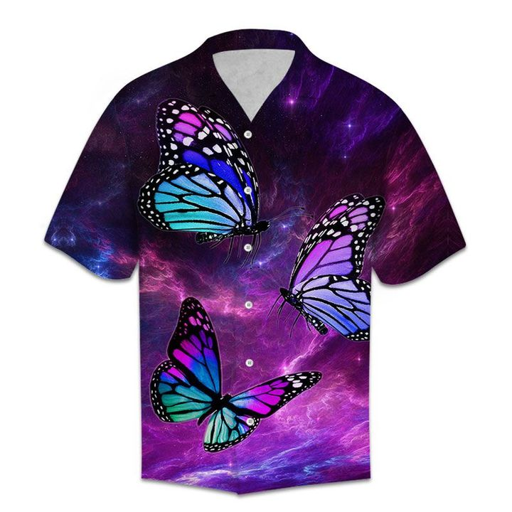 Amazing galaxy butterfly all over printed hawaiian shirt