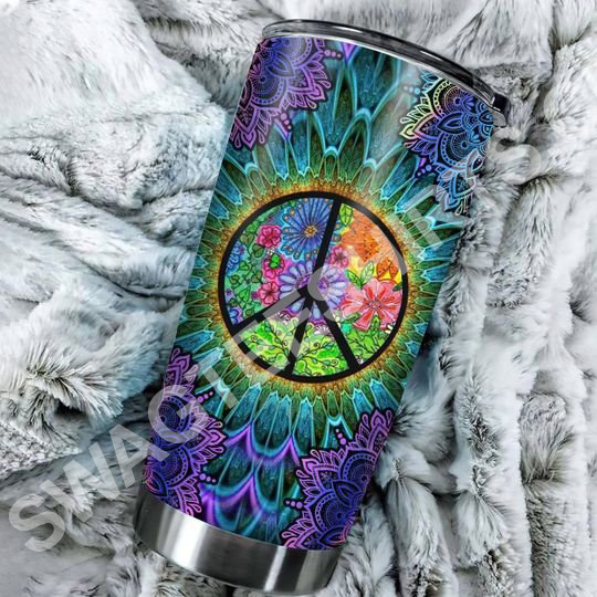 Amazing hippie peace colorful all over printed stainless steel tumbler
