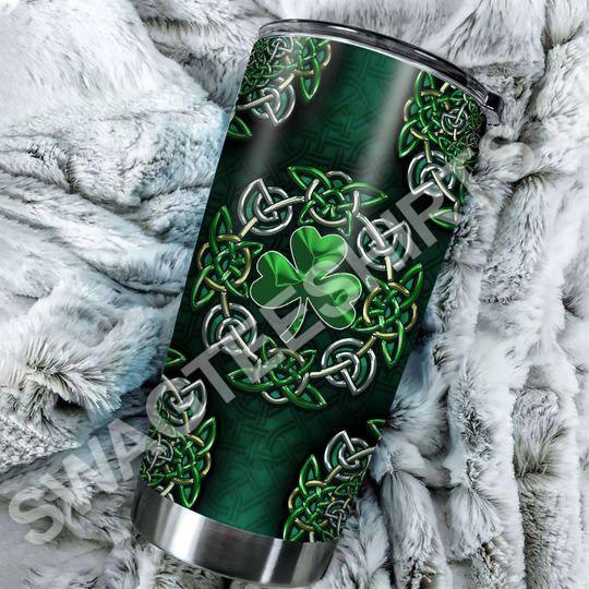 Amazing irish shamrock all over printed stainless steel tumbler