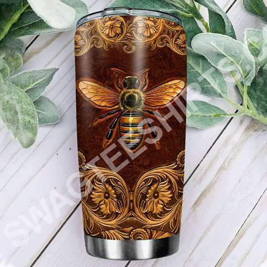 Amazing leather bee all over printed stainless steel tumbler