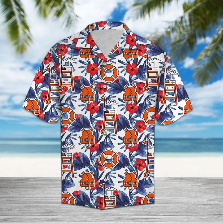 Amazing lifeguard palm all over printed hawaiian shirt