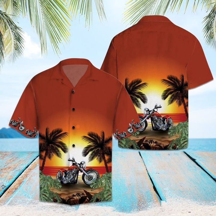 Amazing motorcycles sunset beach all over printed hawaiian shirt