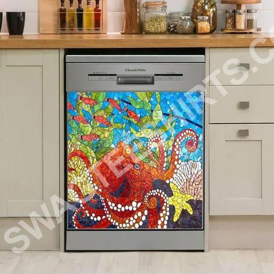 Amazing ocean octopus art kitchen decorative dishwasher magnet cover