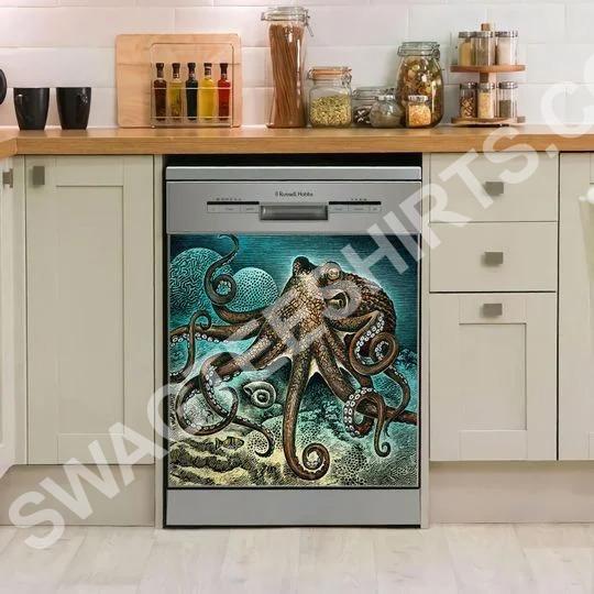 Amazing octopus blue kitchen decorative dishwasher magnet cover