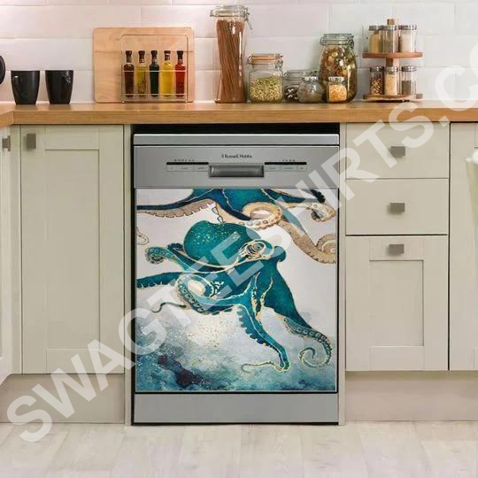 Amazing octopus flowing kitchen decorative dishwasher magnet cover