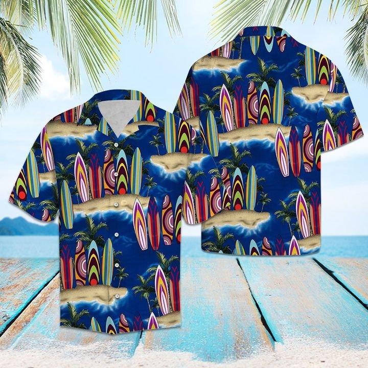 Amazing palm tree surfboard all over printed hawaiian shirt