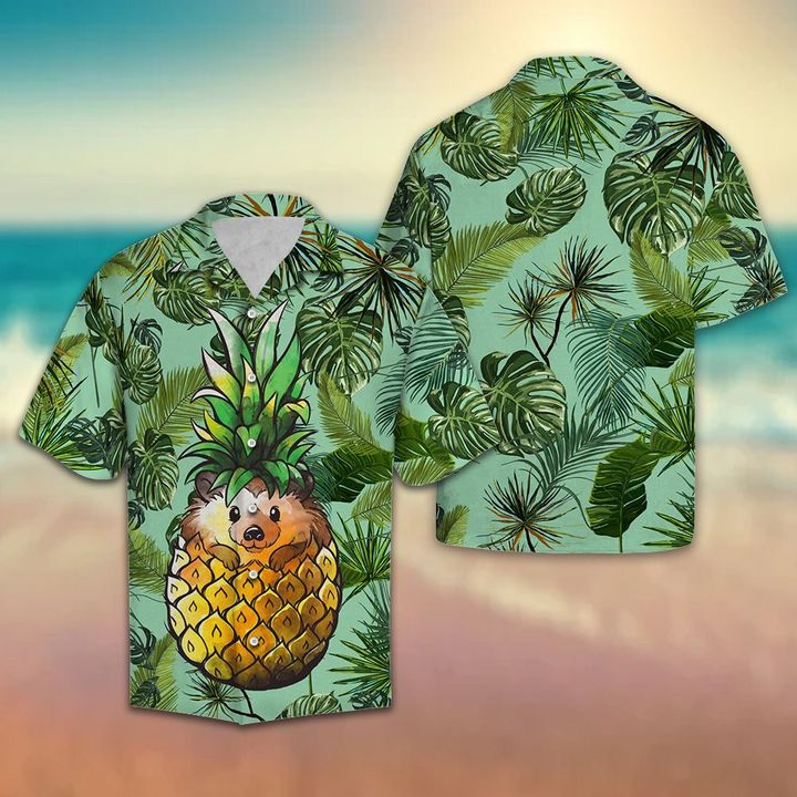 Amazing pineapple hedgehog all over printed hawaiian shirt