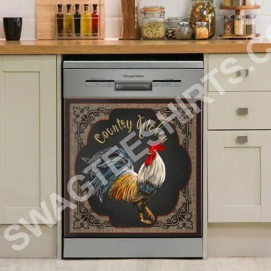 Amazing rooster chicken farm life kitchen decorative dishwasher magnet cover