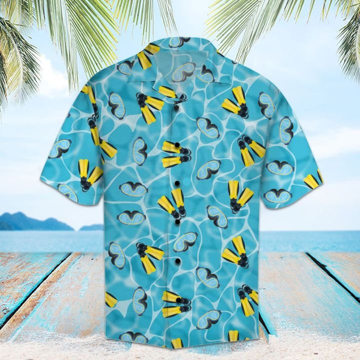 Amazing scuba diving all over printed hawaiian shirt