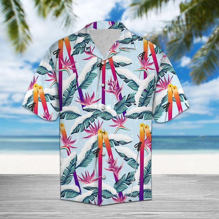 Amazing skiing palm all over printed hawaiian shirt
