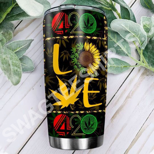 Amazing sunflower love weed leaf 420 all over printed stainless steel tumbler