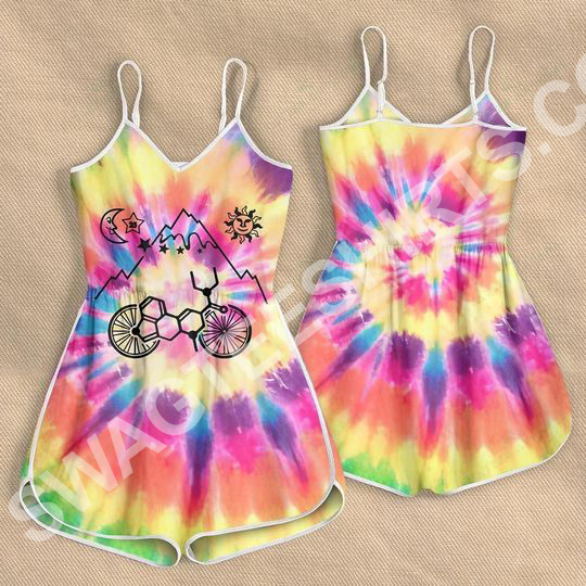Amazing tie dye lsd bicycle all over printed rompers