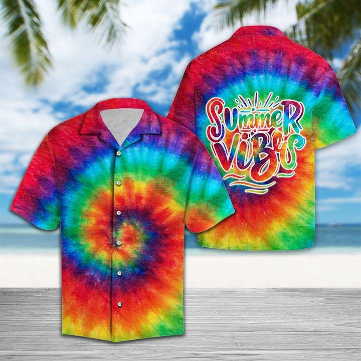 Amazing tie dye summer vibes all over printed hawaiian shirt