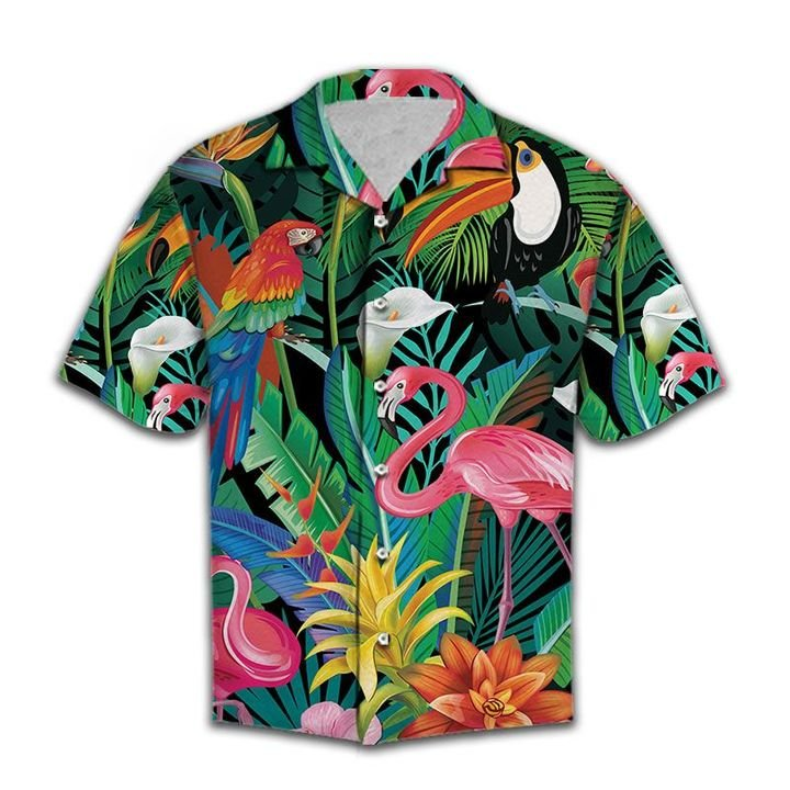 Amazing tropical birds all over printed hawaiian shirt