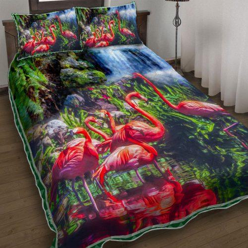 Amazing tropical flamingo all over printed bedding set