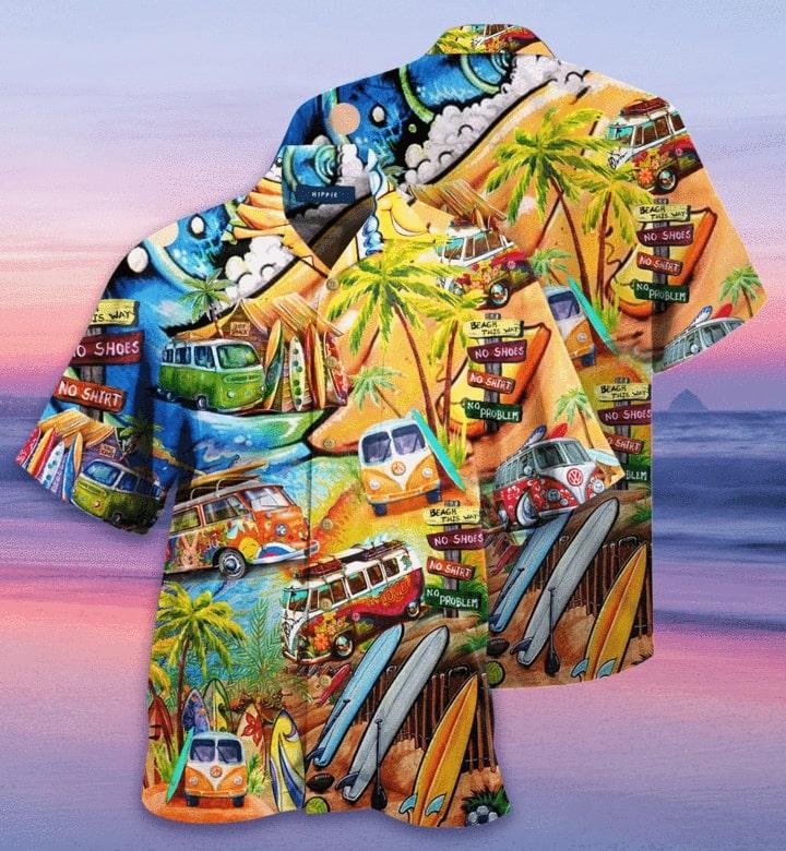 Amazing tropical hippie car all over printed hawaiian shirt