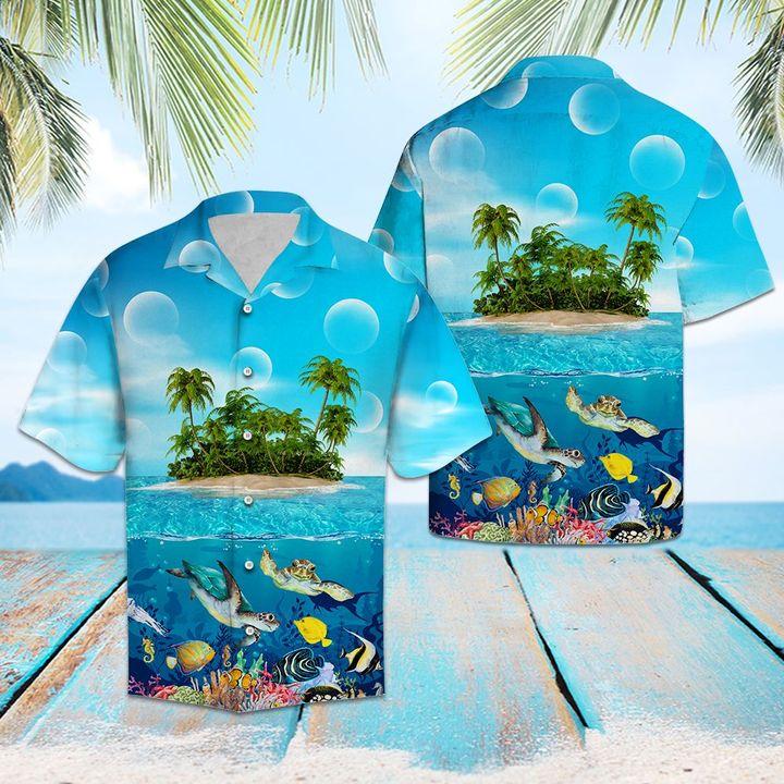 Amazing turtle island all over printed hawaiian shirt