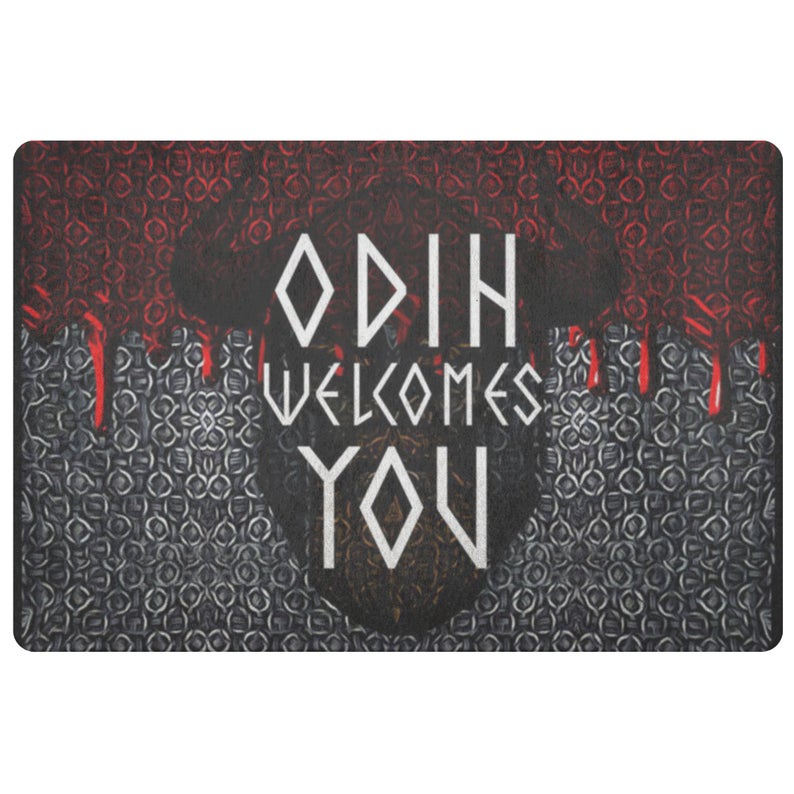 Amazing viking odin welcomes you all over printed doormat