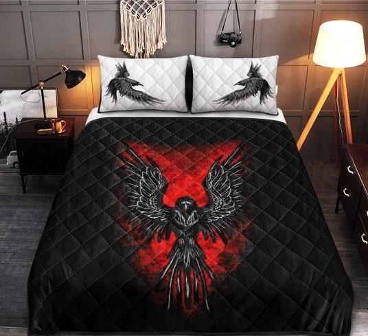Amazing viking raven all over printed bedding set