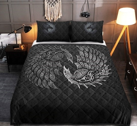 Amazing viking raven and wolf all over printed bedding set