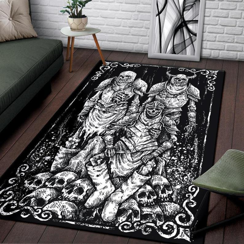 Amazing viking skull zombie all over printed rug