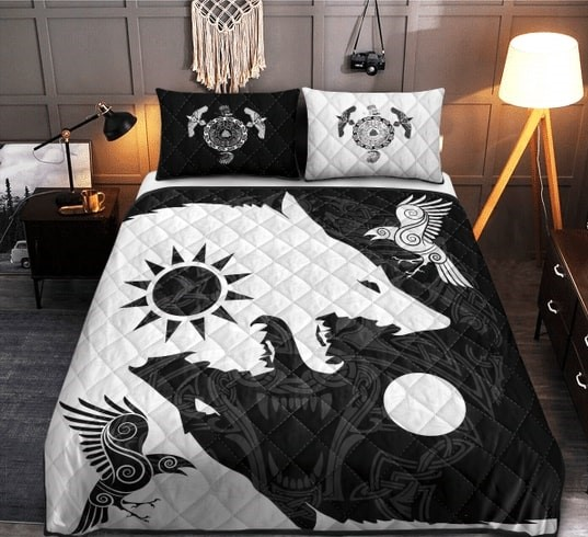 Amazing viking wolf all over printed bedding set