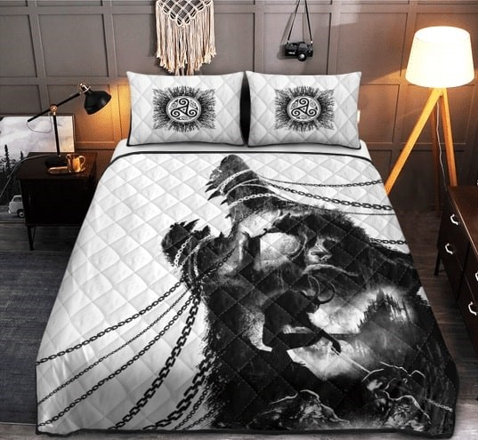 Amazing viking wolf watercolor all over printed bedding set