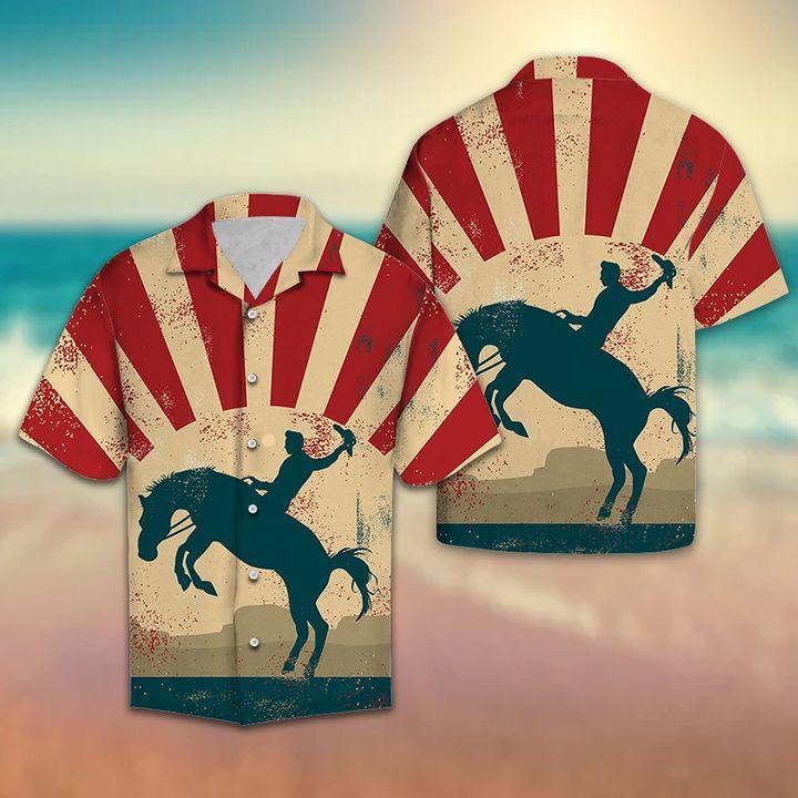 Amazing vintage cowboy all over printed hawaiian shirt