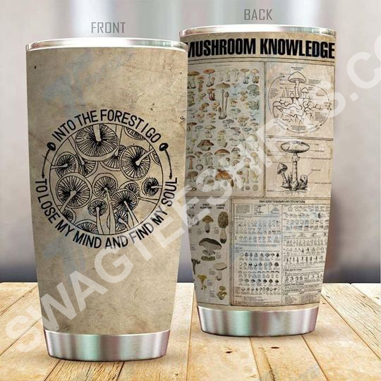 Amazing vintage mushroom knowledge all over printed stainless steel tumbler