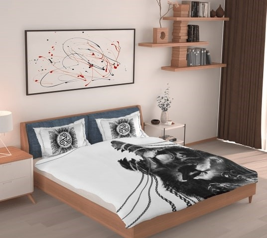 Amazing warrior and wolf viking all over printed bedding set