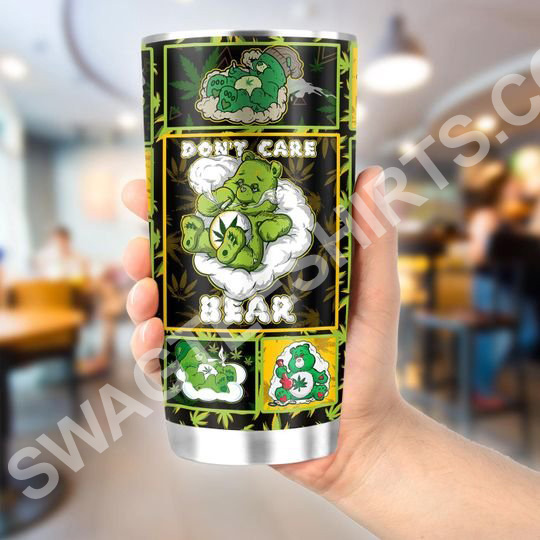 Amazing weed dont care bear all over printed stainless steel tumbler