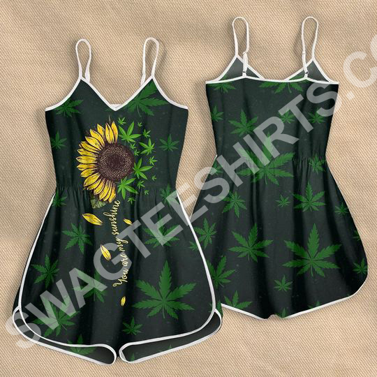 Amazing weed leaf you are my sunshine sunflower all over print rompers