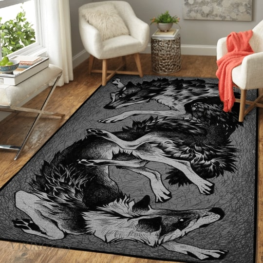Amazing wolf viking all over printed rug