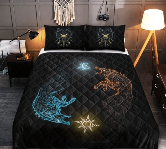 Amazing wolves viking all over printed bedding set