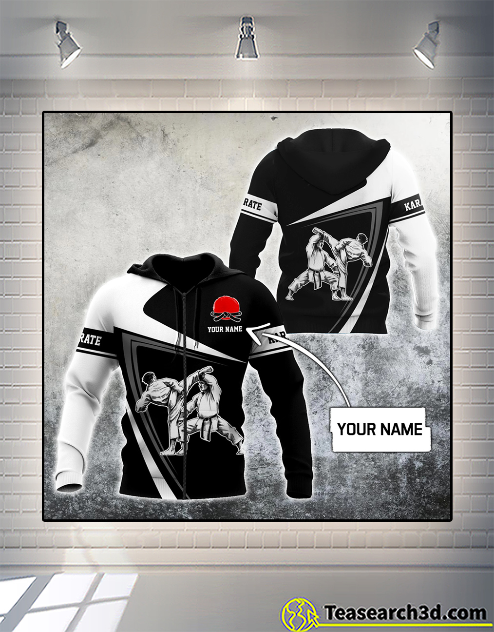 Personalized custom name karate 3d all over printed hoodie