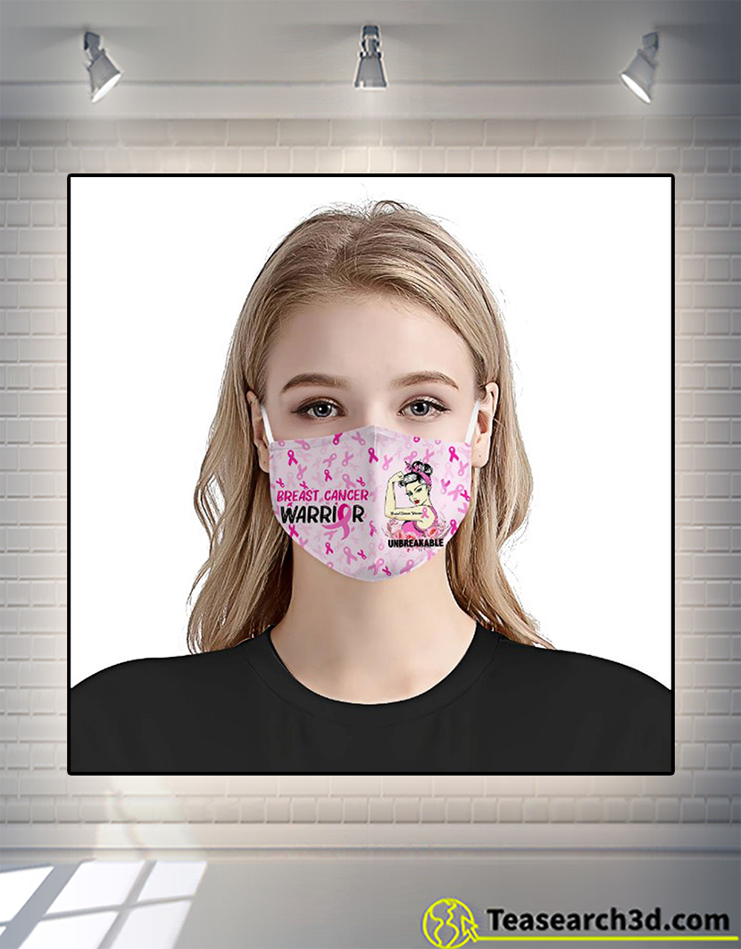 Breast cancer awareness warrior unbreakable face mask