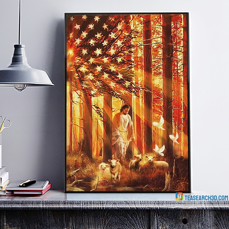 American flag Jesus walking with the lambs poster