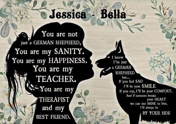 Personalized custom name German Shepherd and girl poster