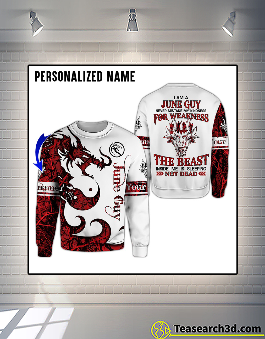 Personalized custom name I am a June guy 3D all over printed hoodie