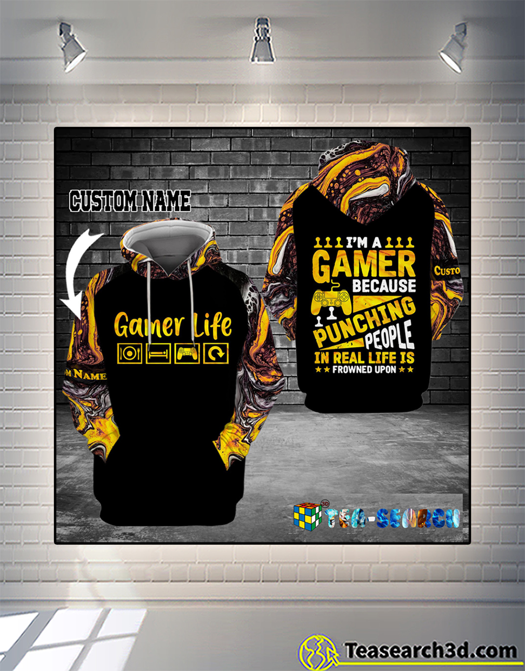 Personalized custom name I'm a gamer because punching people 3d hoodie