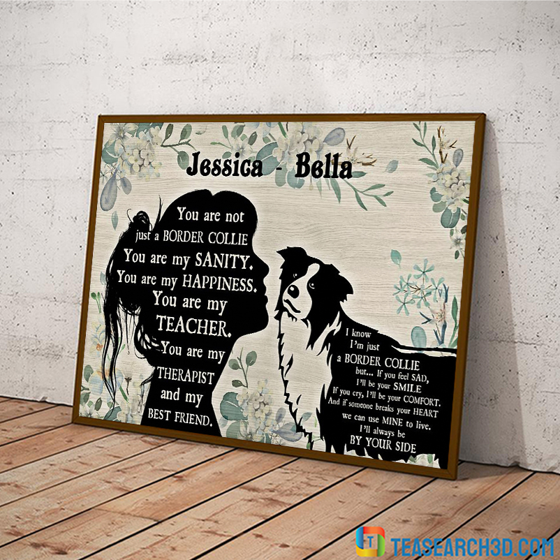 Personalized custom name Border collie and girl poster