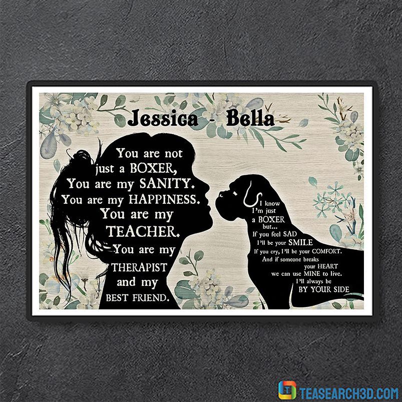 Personalized custom name Boxer and girl poster