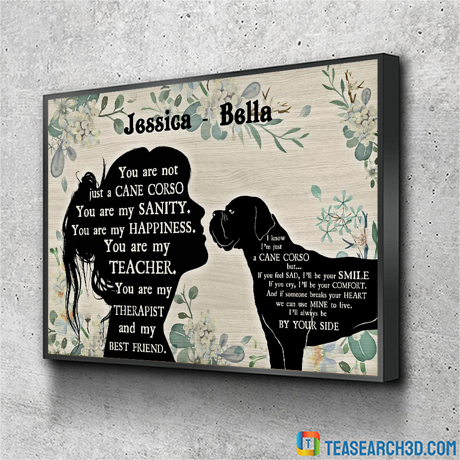 Personalized custom name Cane Corso and girl poster