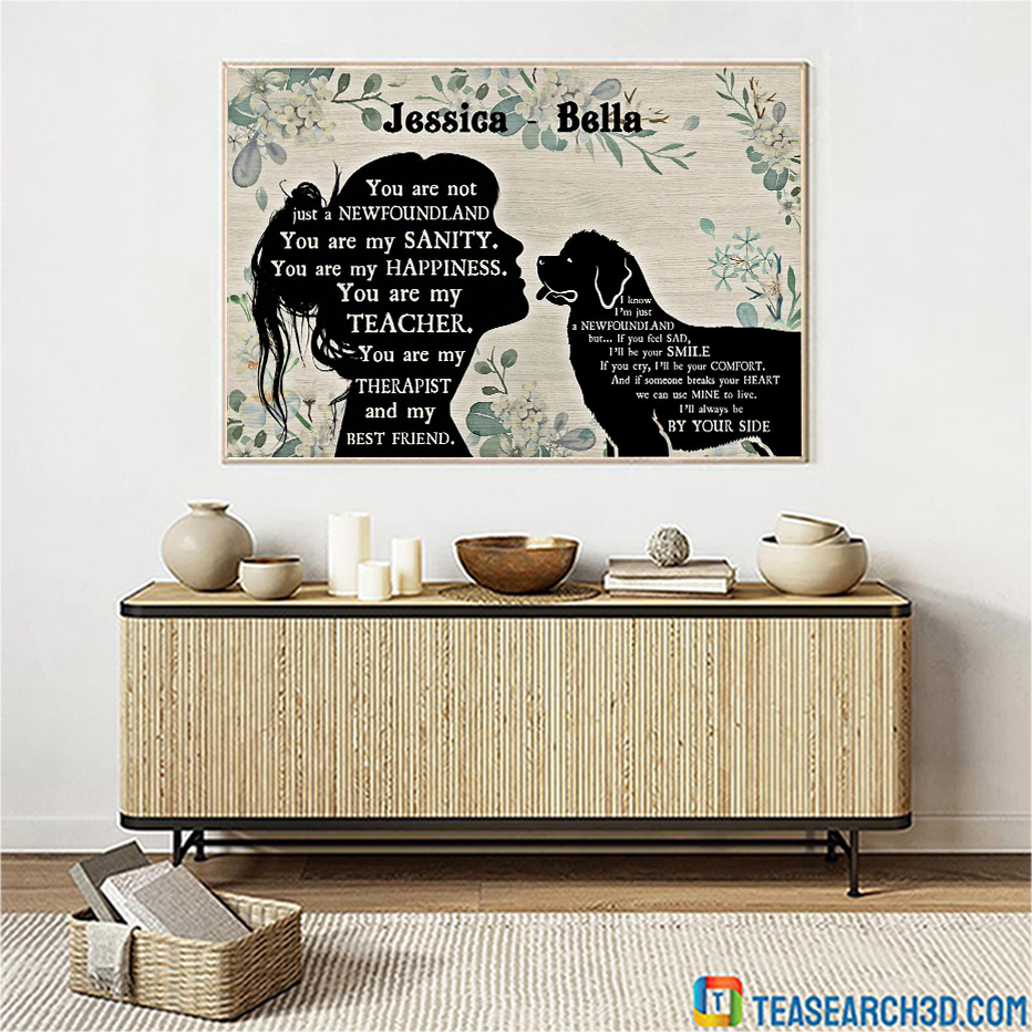 Personalized custom name Newfoundland and girl poster