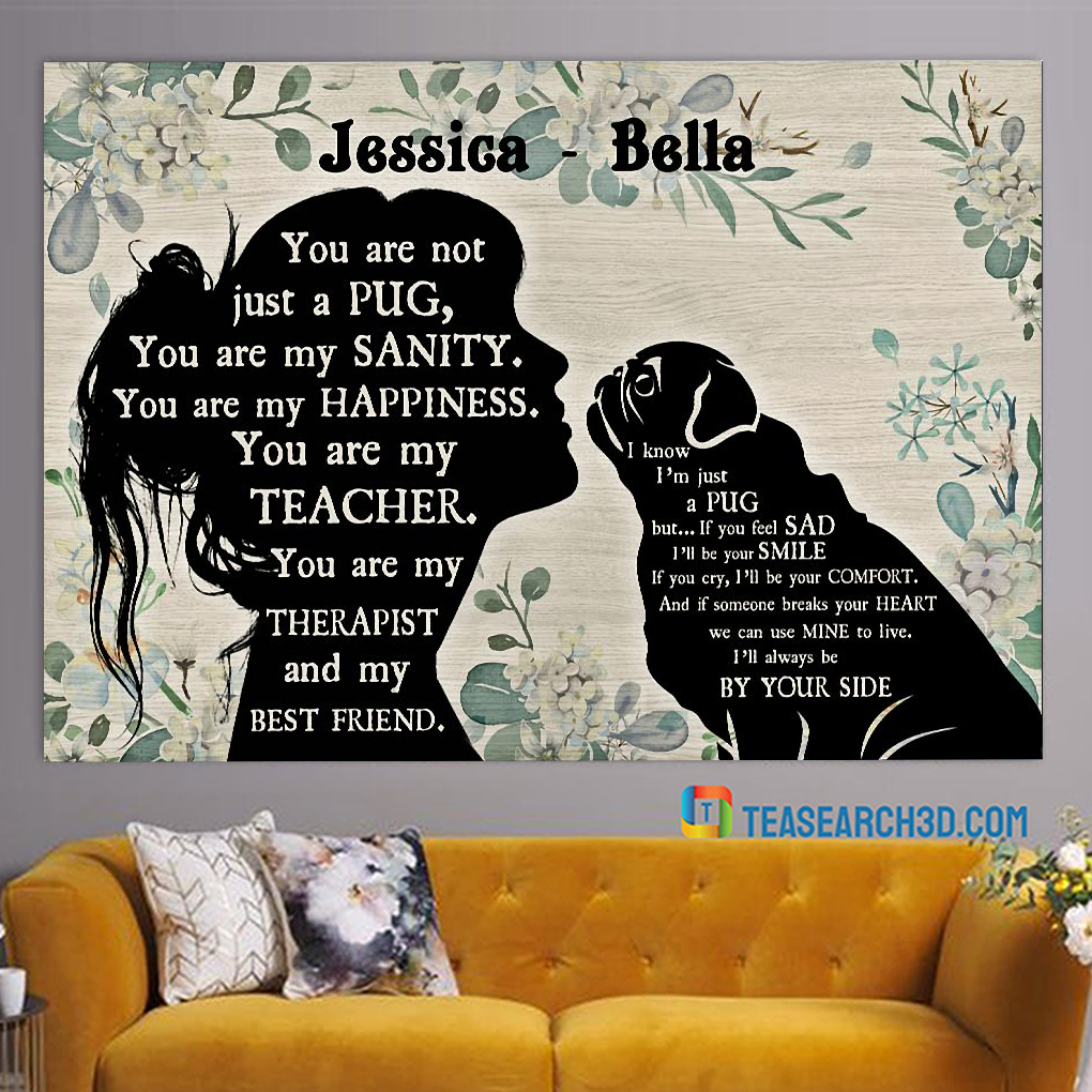 Personalized custom name Pug and girl poster