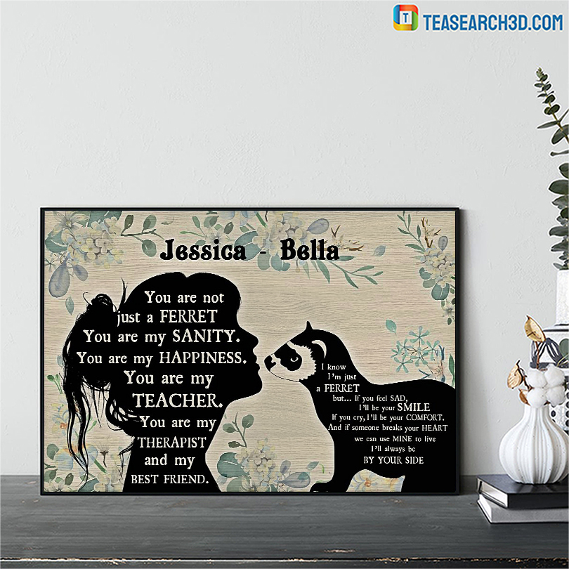 Personalized custom name Ferret and girl poster