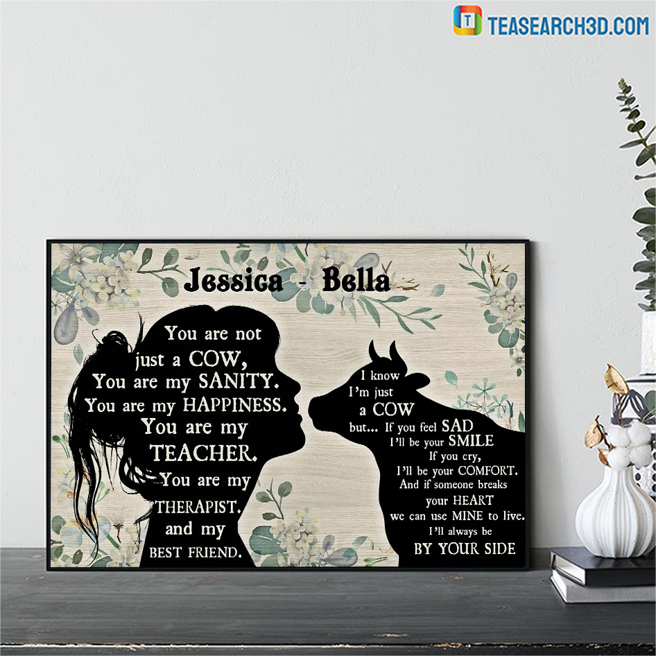 Personalized custom name Cow and girl poster