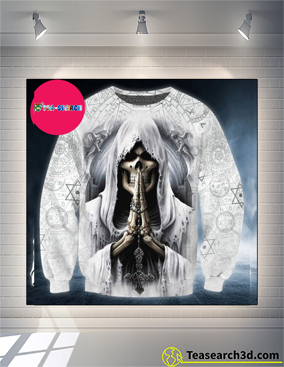Skull pray 3d all over print hoodie