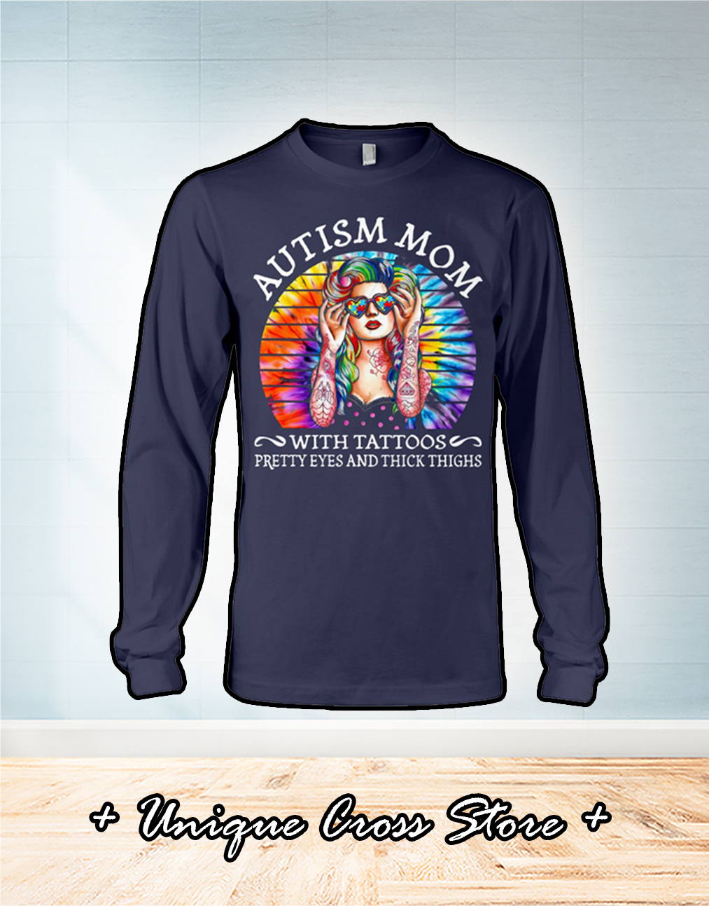 Vintage Autism mom with tattoos pretty eyes and thick thighs shirt