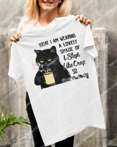 Amazing black cat drink coffee today i am wearing a lovely shade shirt